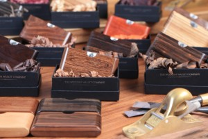 Wooden wallets in presentation boes and wood shavings